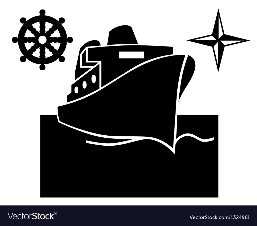 Ship on the water vector
