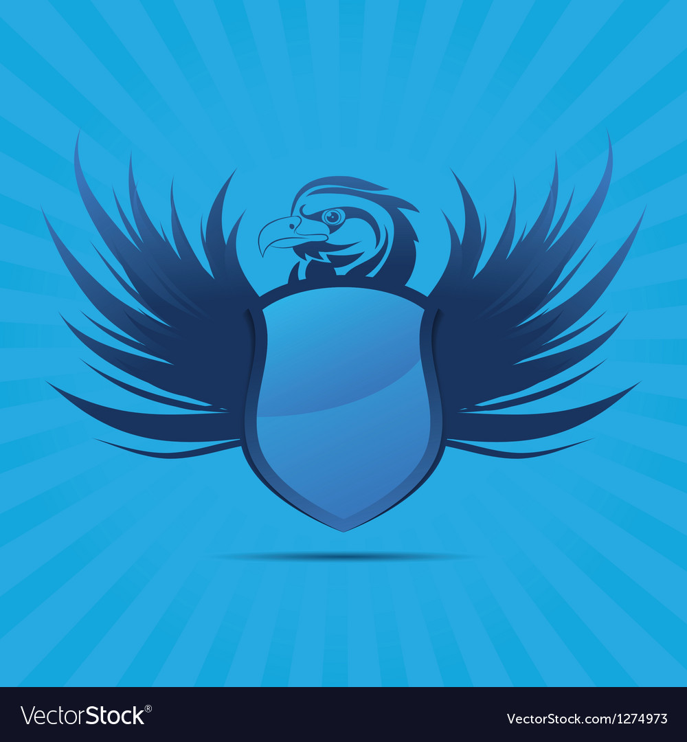 Blue shield eagle vector