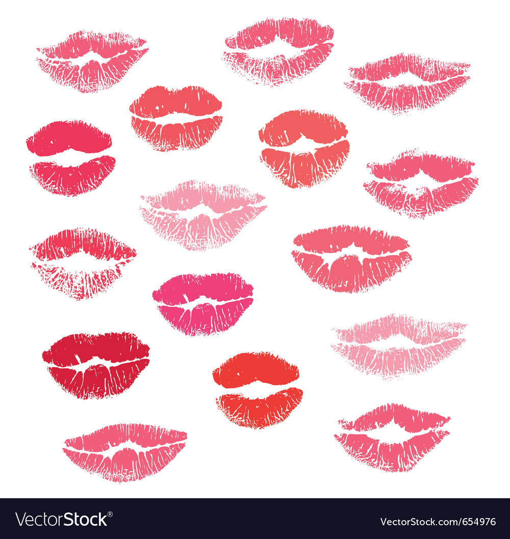 Collection print of lips vector