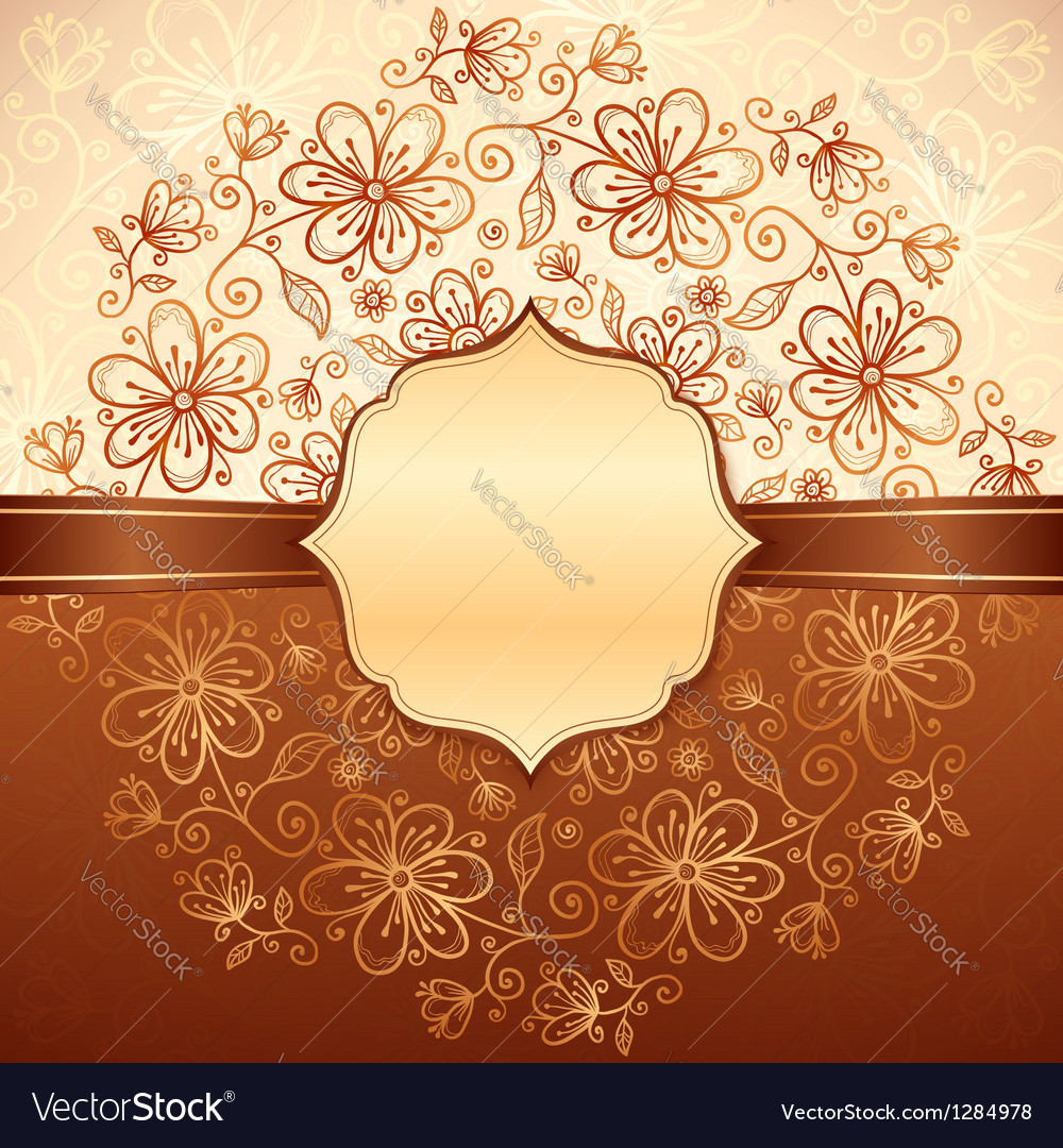 Lacy vintage flowers background with label vector