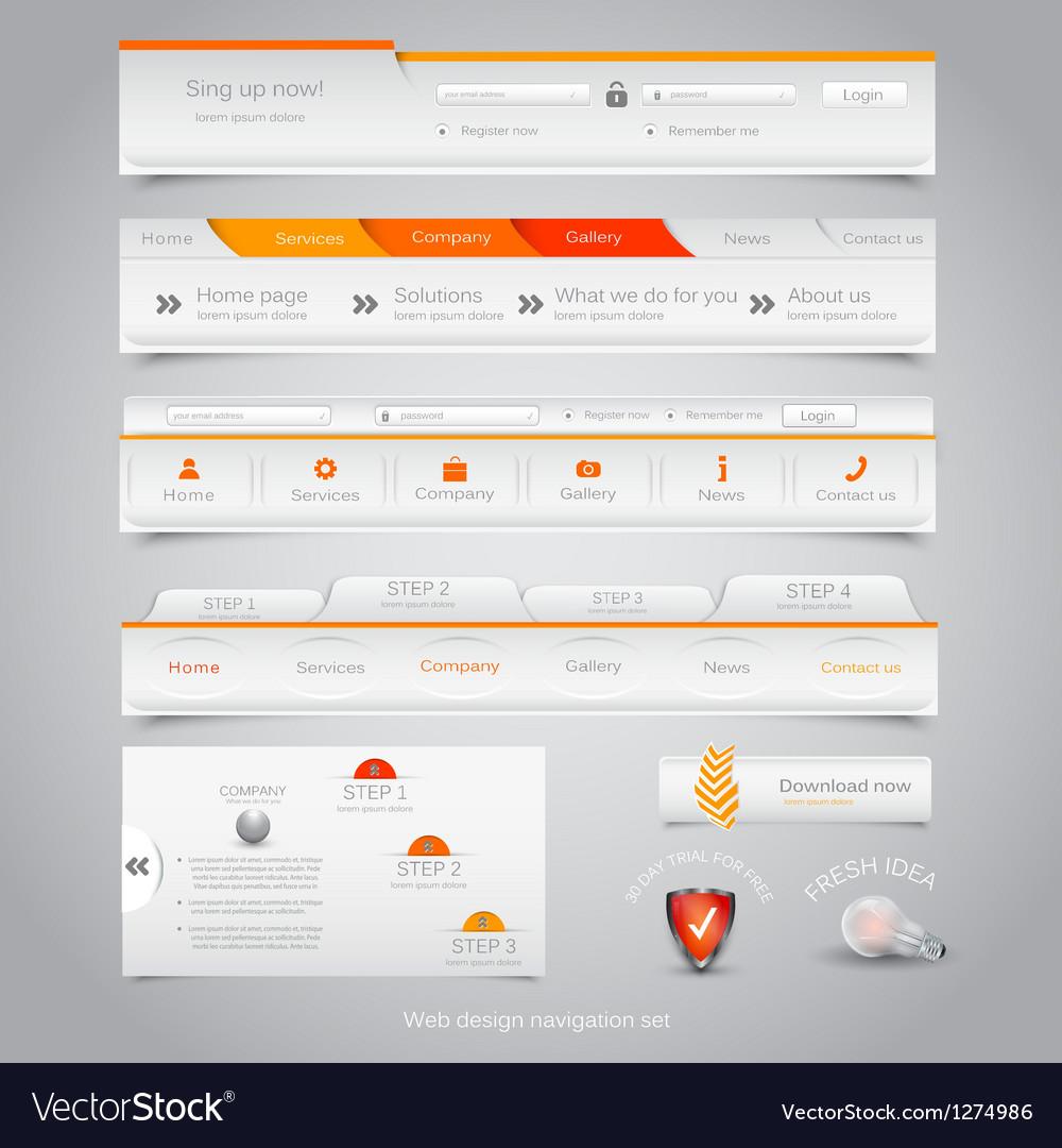 Web site navigation menu pack 23 vector