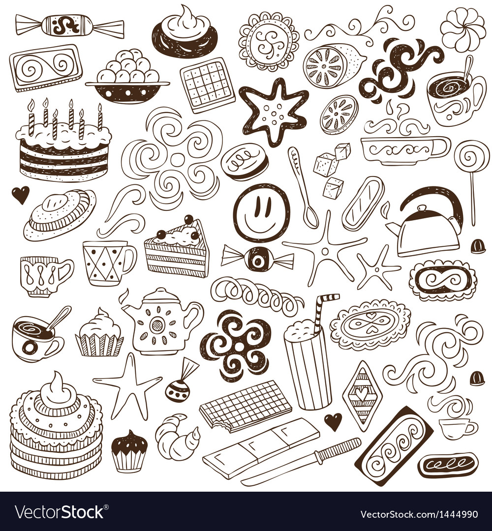 Coffee and sweets  doodles collection vector