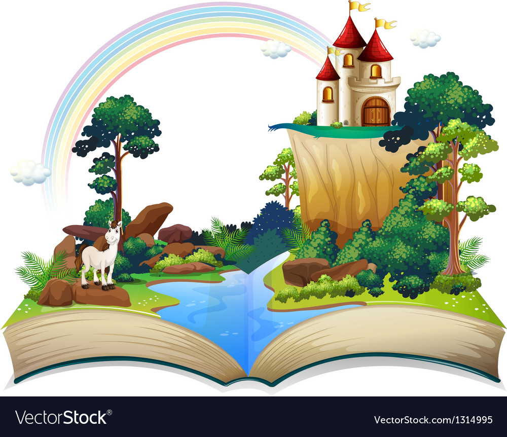 A book with a castle at the forest vector