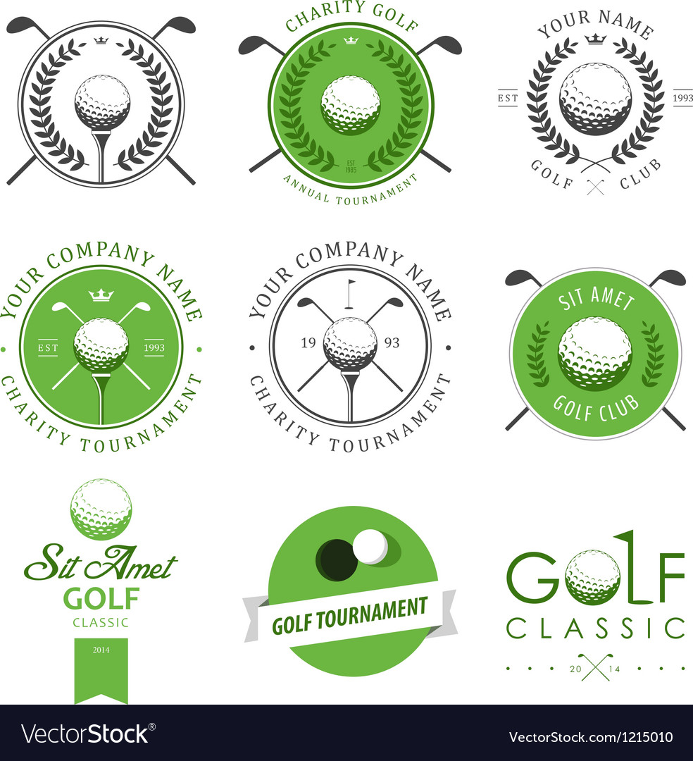 Set of golf club labels and emblems vector
