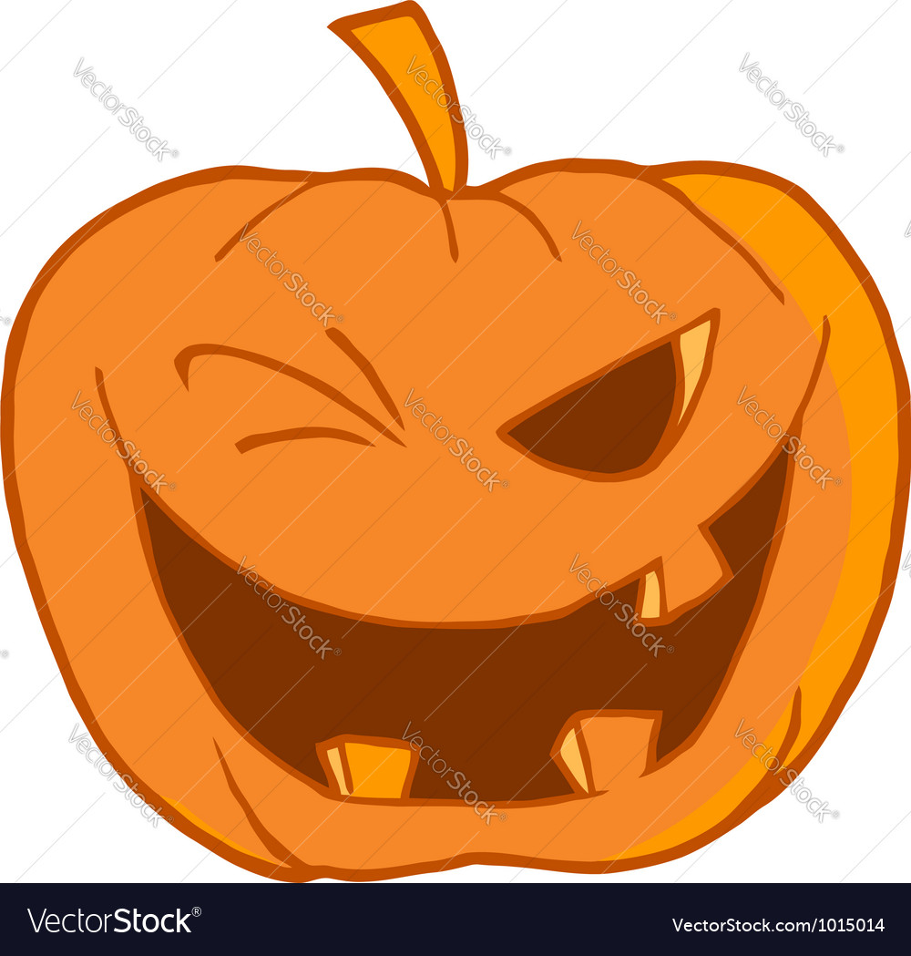 Halloween pumpkin winking vector