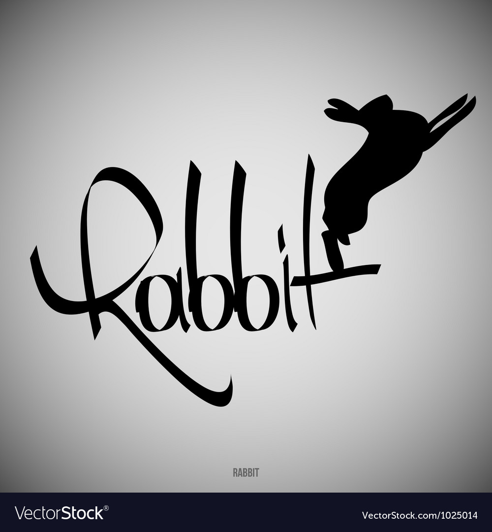 Rabbit calligraphic elements vector