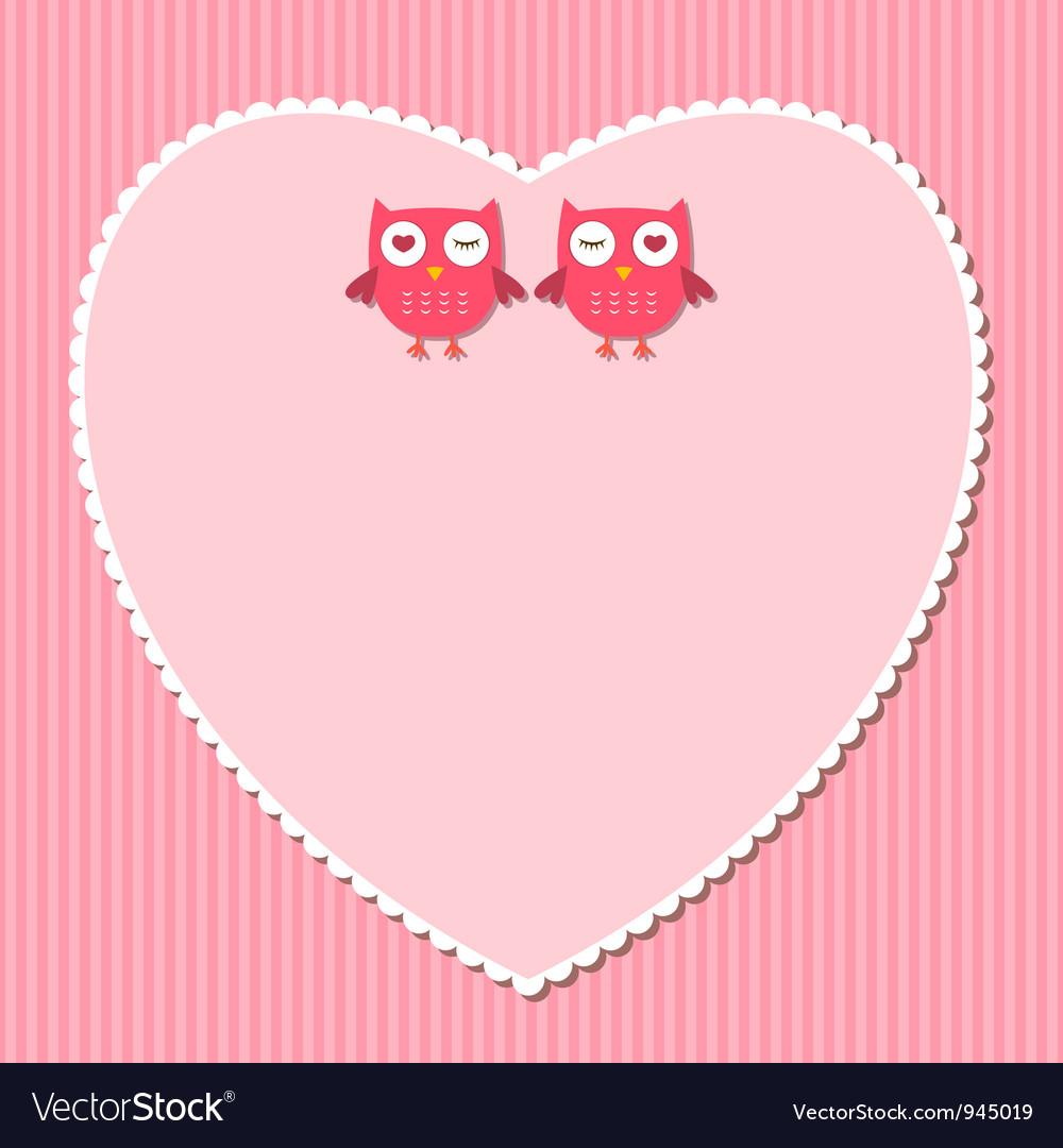 Pink heart frame vector