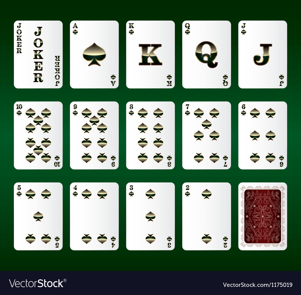 Playing cards set spades vector