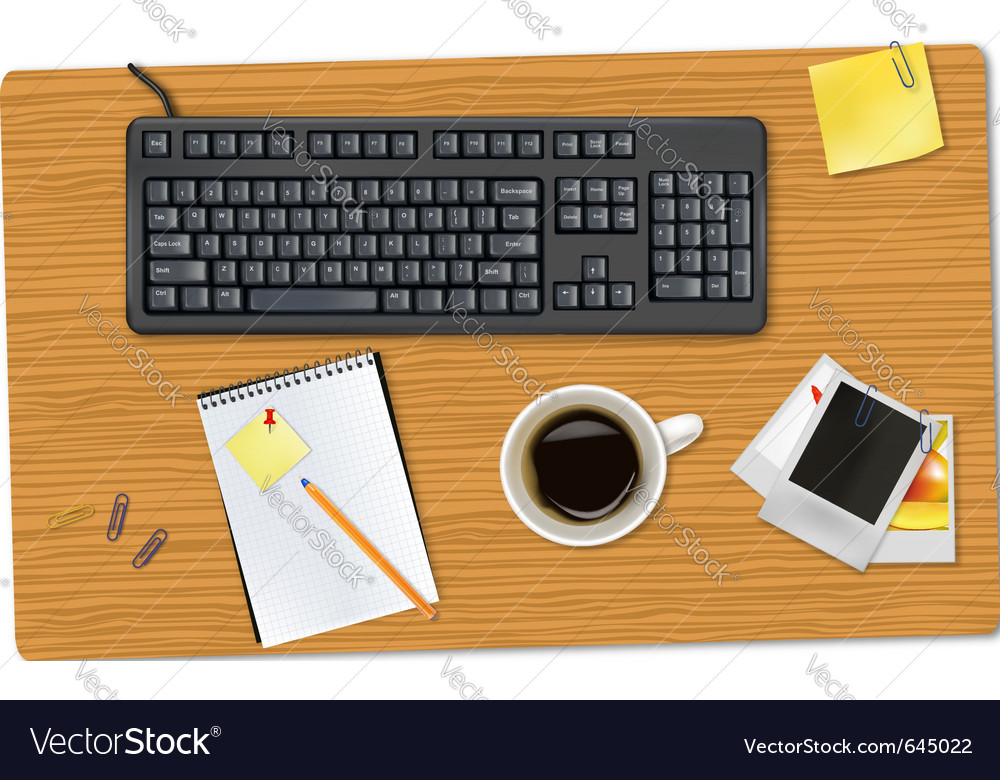 Keyboard smart phone and office supplies vector