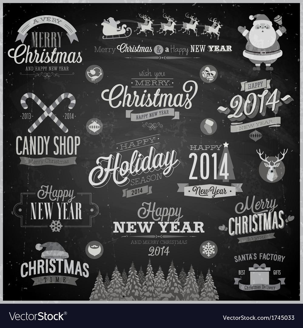 Christmas emblems chalk vector