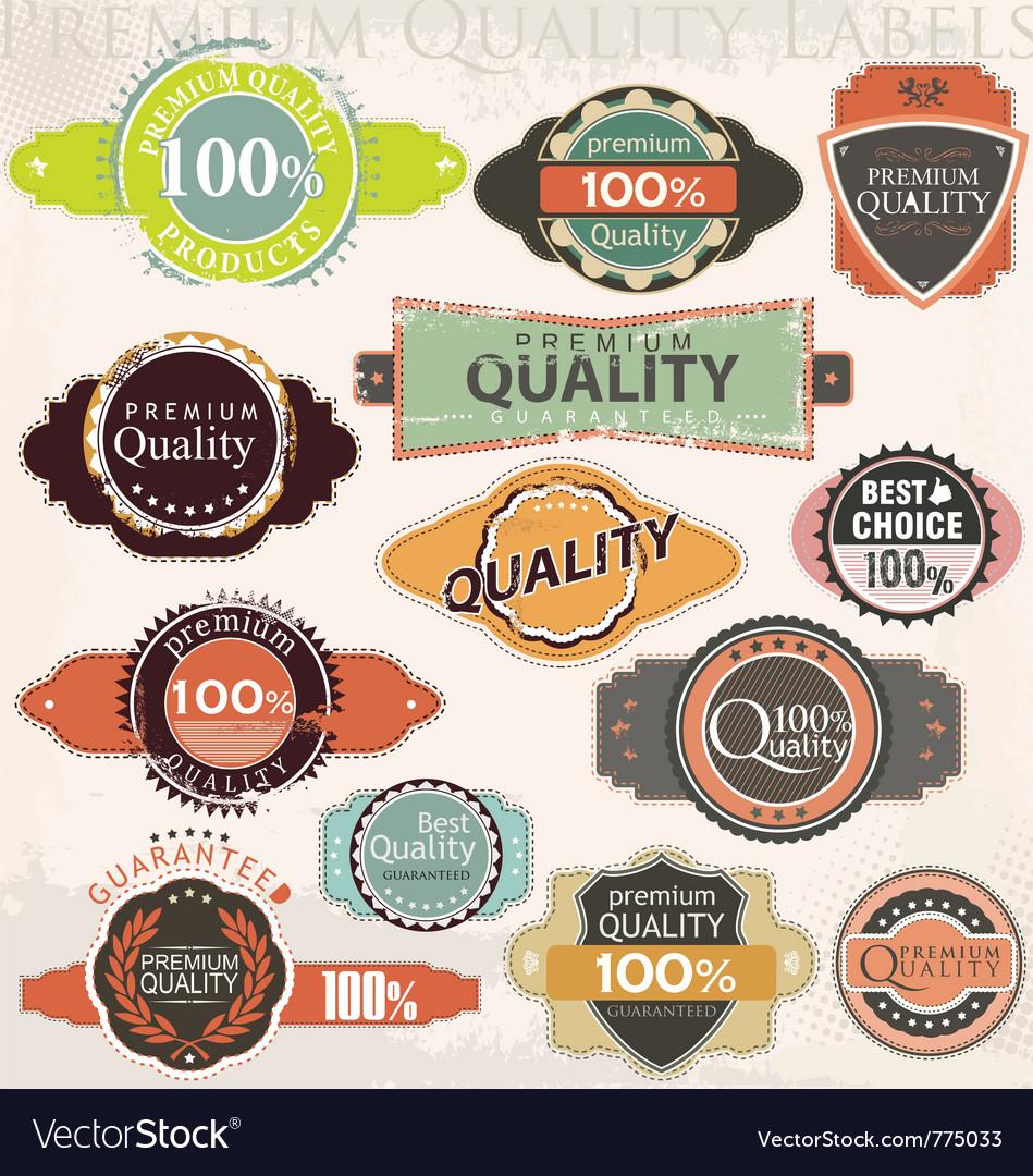 Retro premium quality label collection set vector
