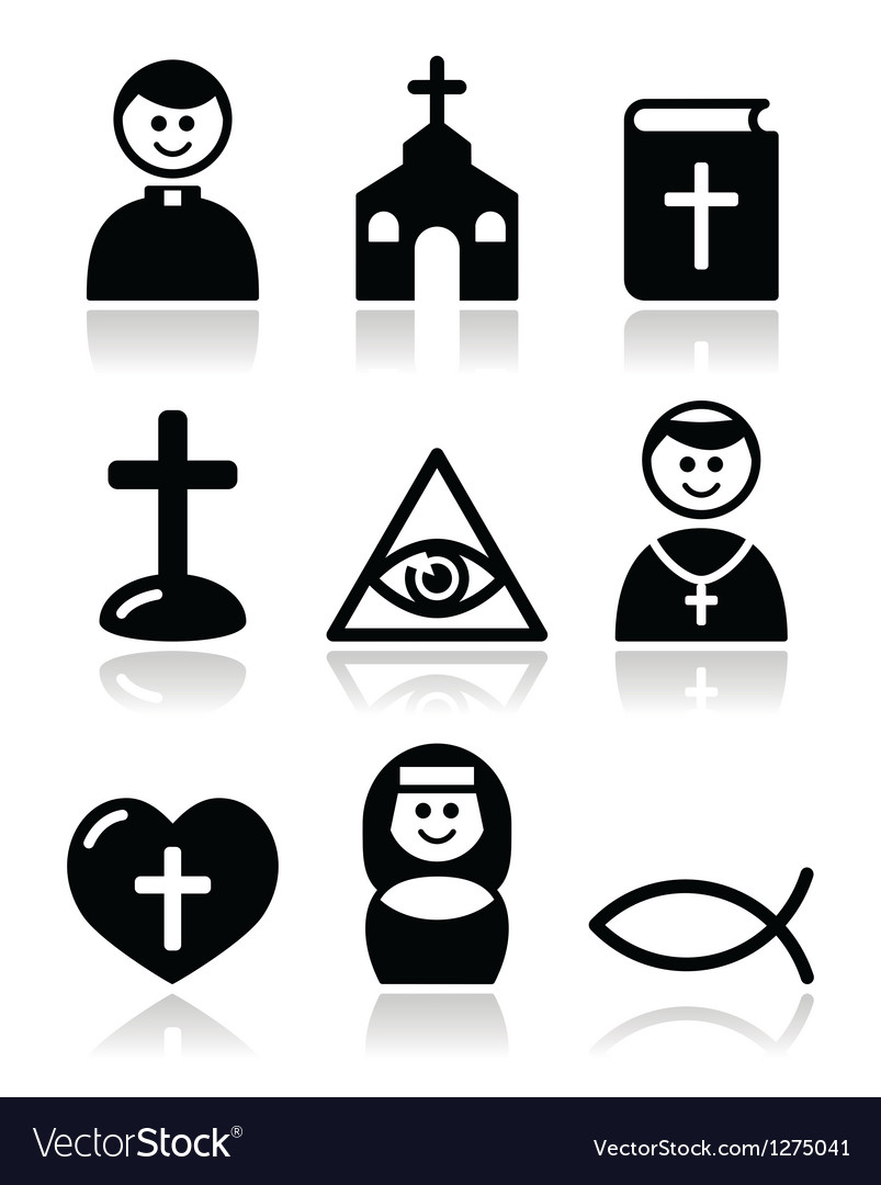 Religion catholic church icons set vector