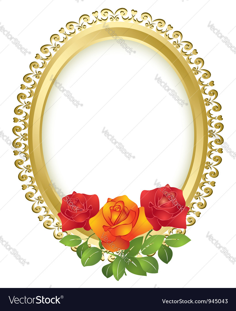 Oval golden frame with roses vector
