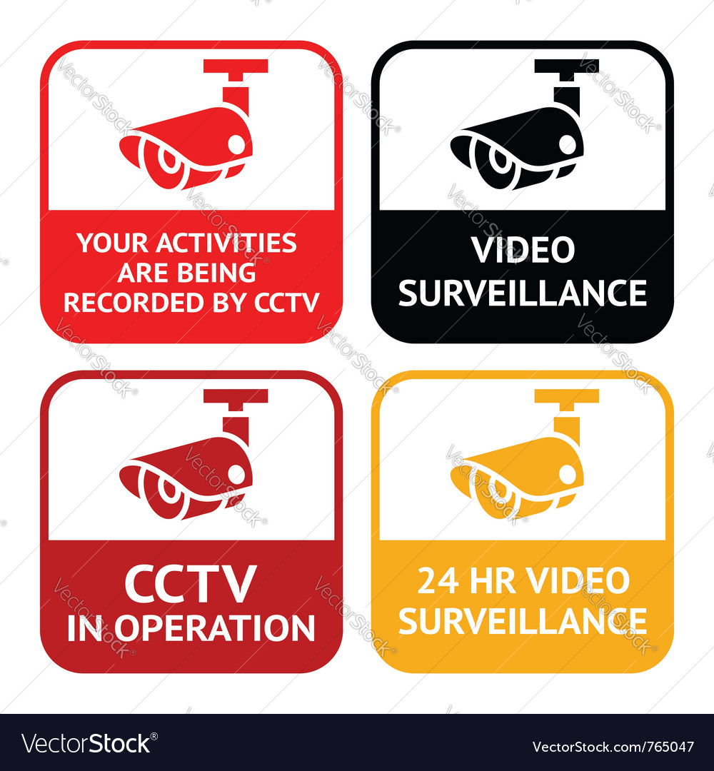 Cctv pictogram video surveillance set symbol secur vector
