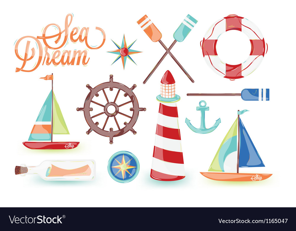 Sea driam icons vector