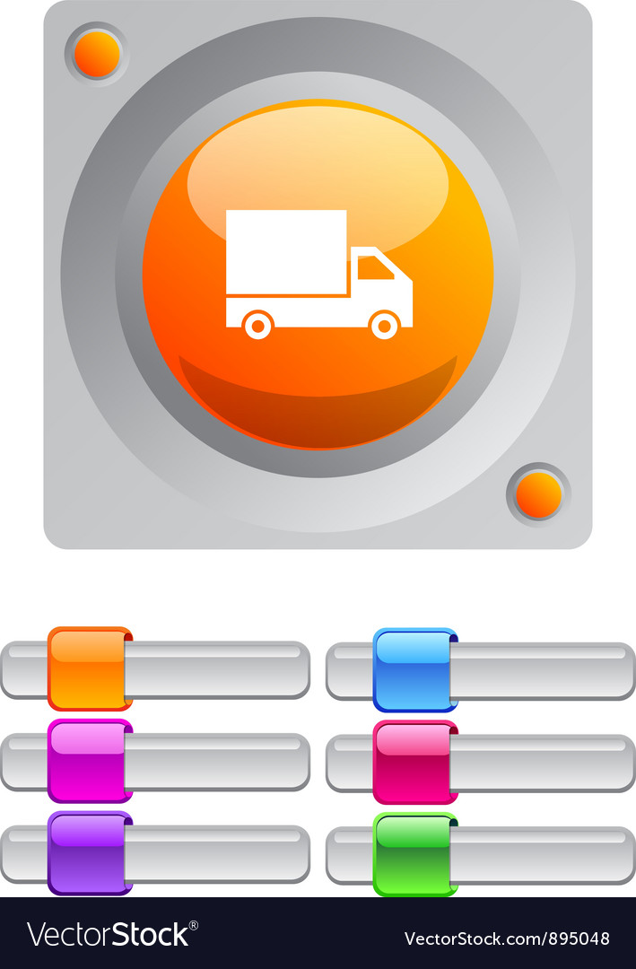 Delivery color round button vector