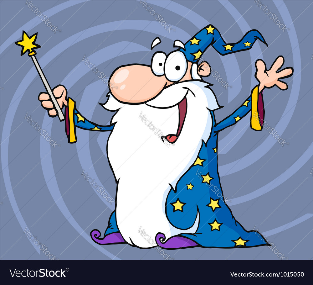 Happy wizard waving and cape holding a magic wand vector