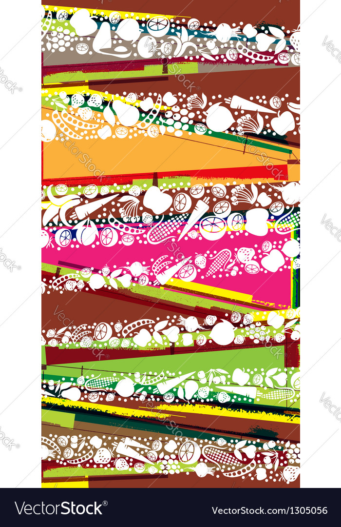 Fruits and vegetables pattern vector
