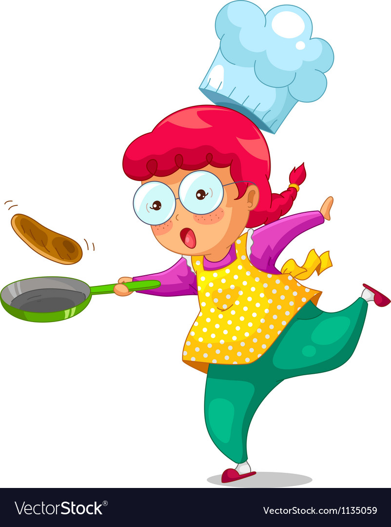 Cooking girl vector