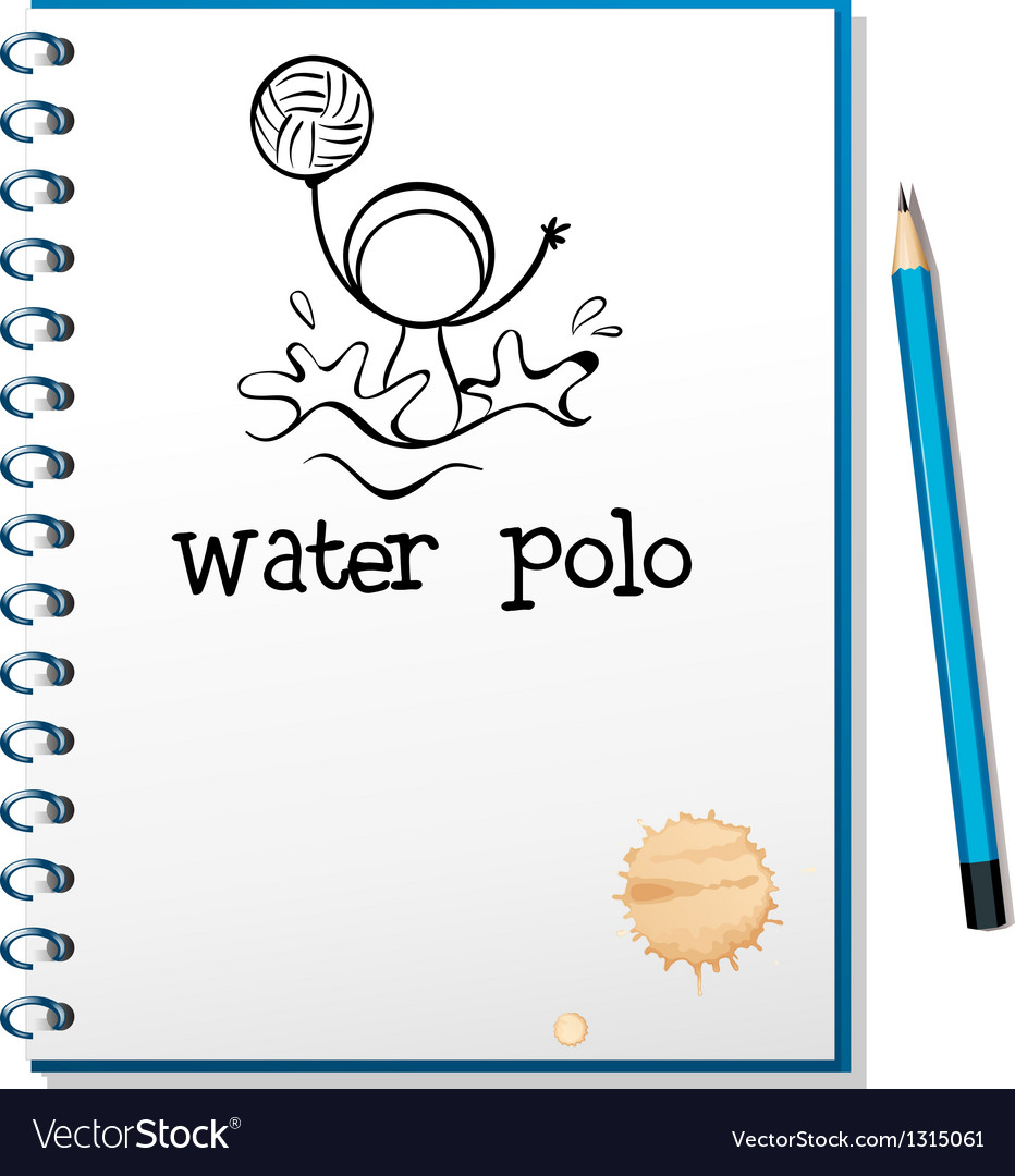 A notebook with a drawing of a boy playing water vector