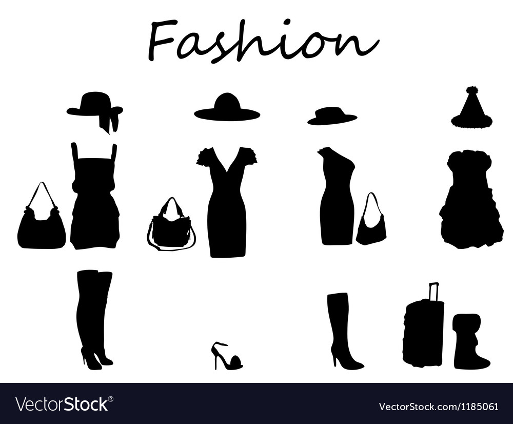 Beautiful fashion dress black  white vector