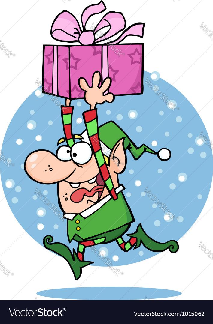 Santas elf runs with gift vector by hittoon image 1015062