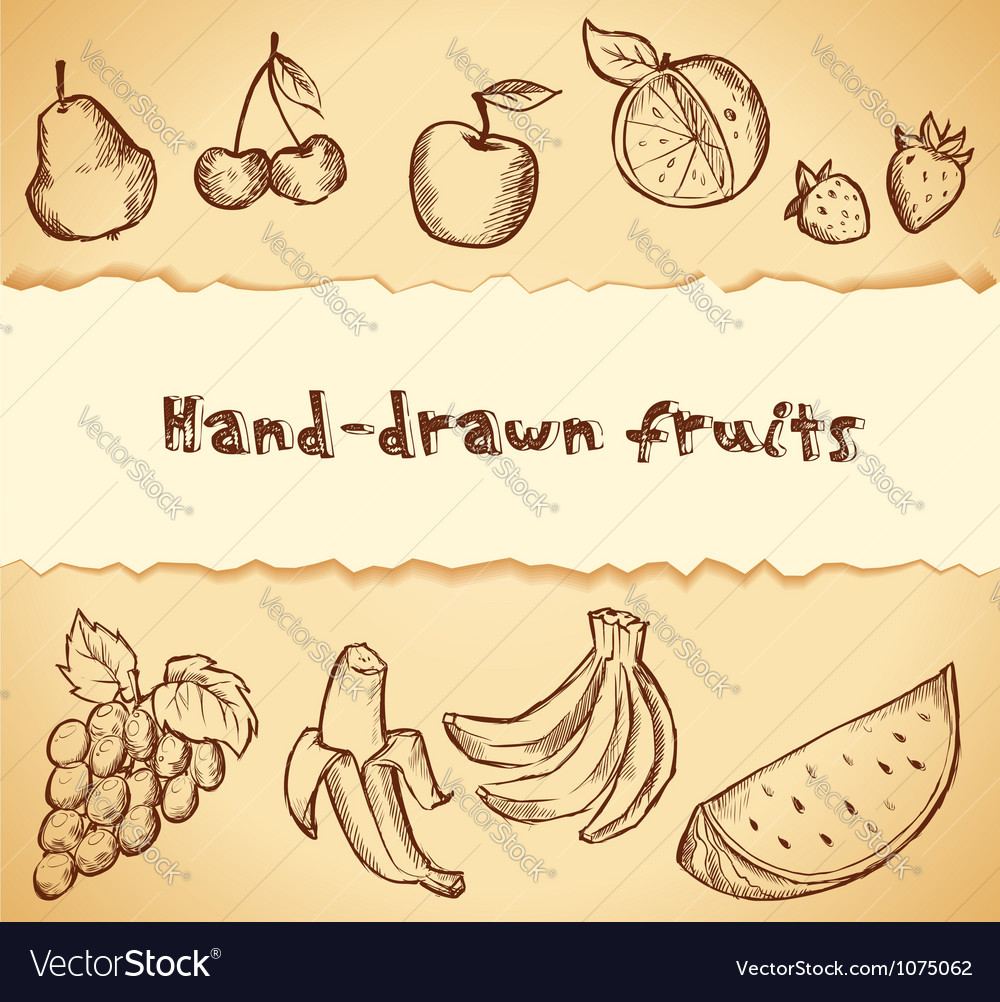 Vintage sketched fruits icon set vector