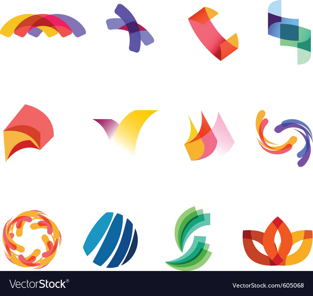 12 colorful symbols set 20 vector