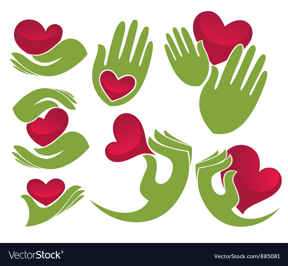 Love in my hands vector