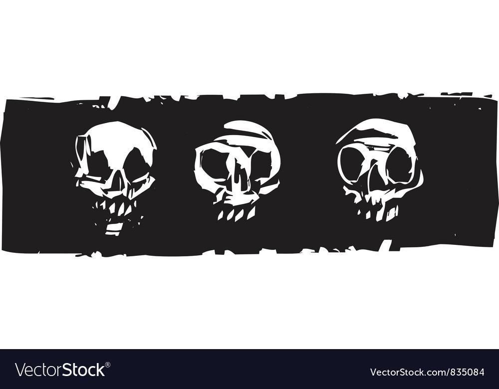 Three human skulls vector