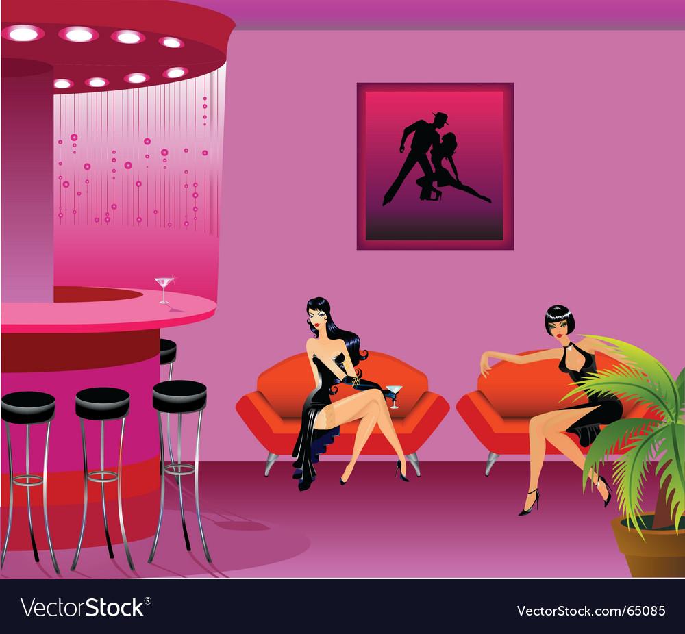 Girls in cafe vector