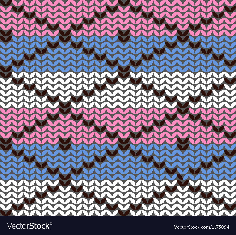 Knitting pattern with rhombuses vector