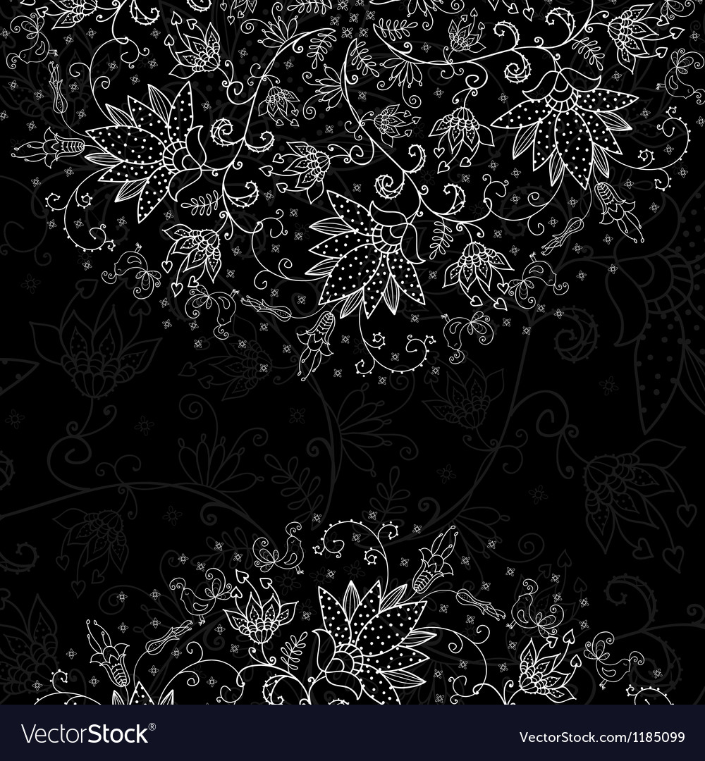 Black background for text with white lacy pattern vector