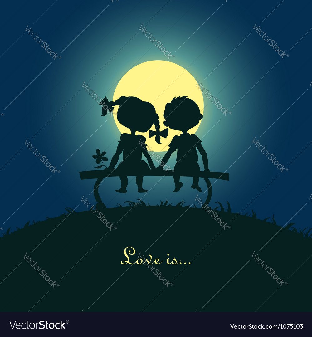 Silhouettes of boy and girl vector
