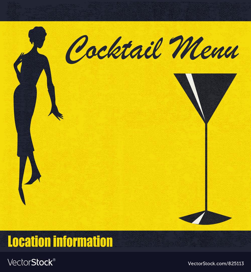 Vintage cocktail menu background vector