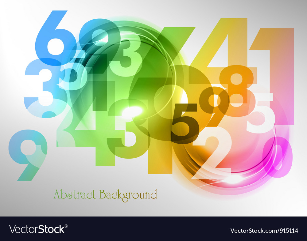 Abstract shape with numbers rainbow vector