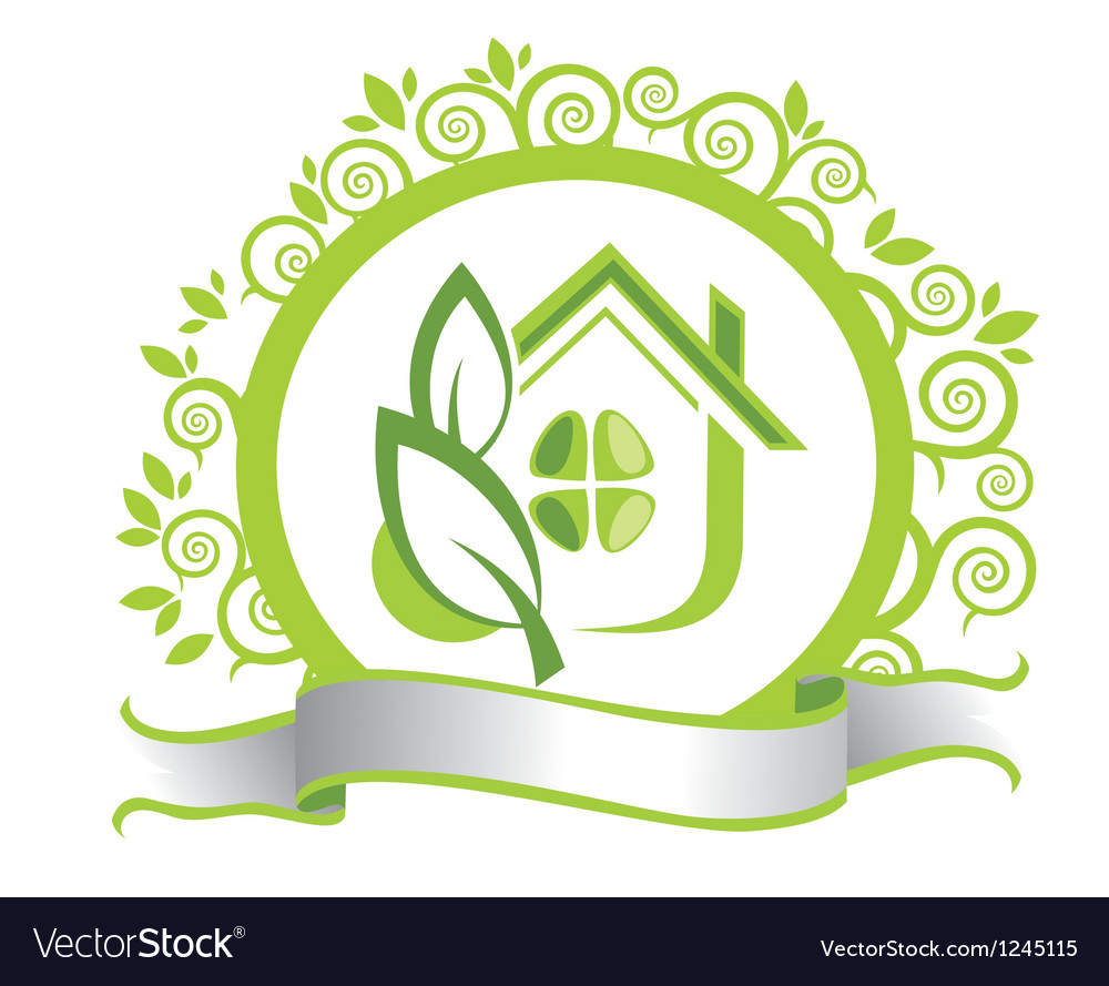 Green house and leaves vector