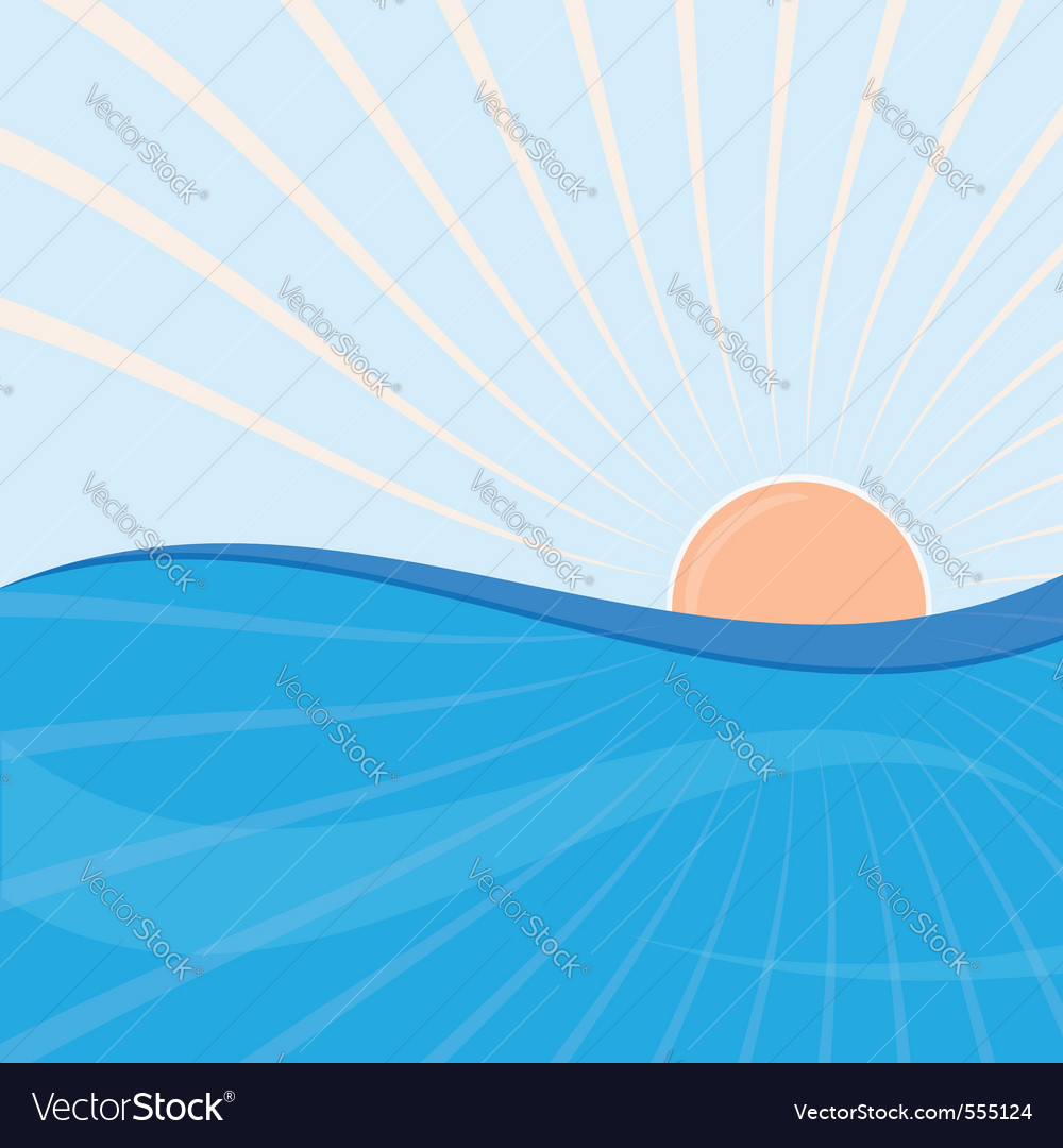 Sun and sea vector