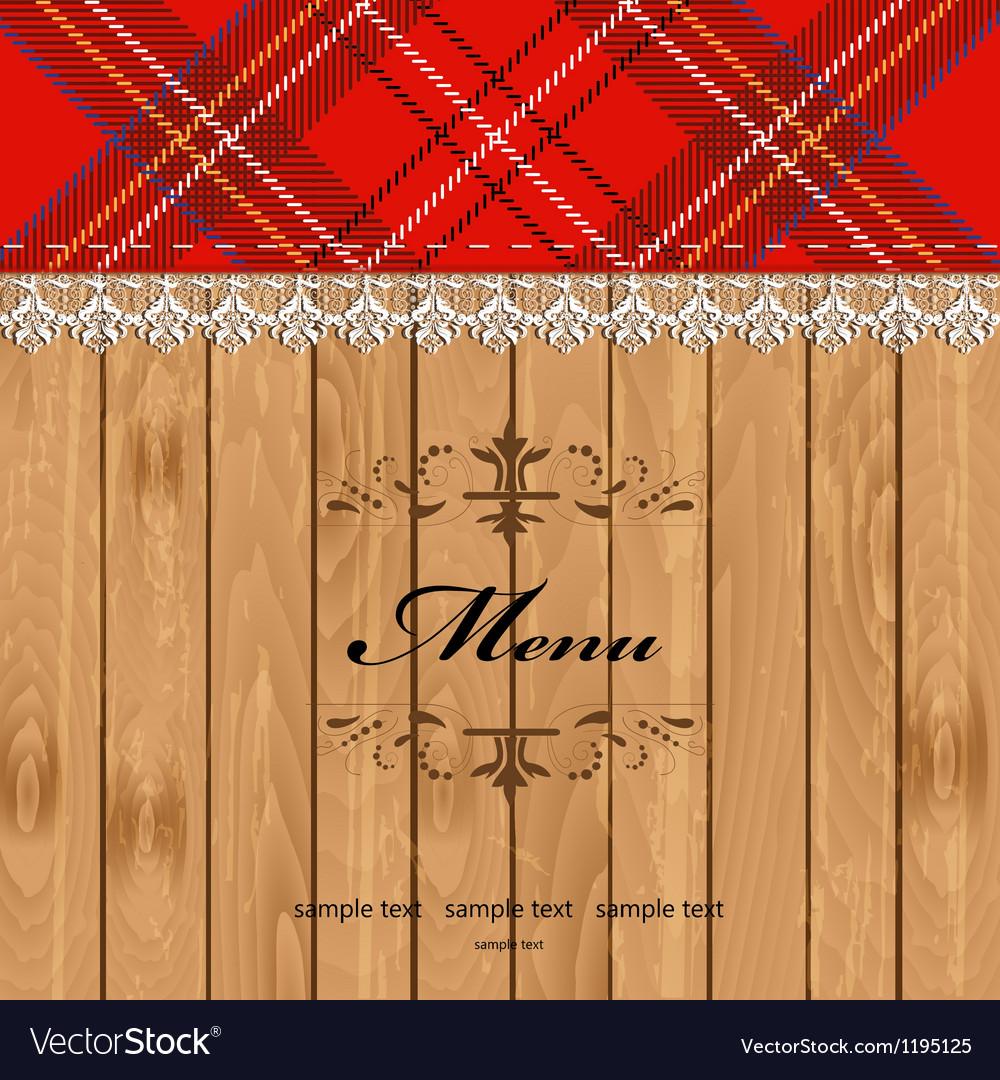 Scottish tartan pattern menu vector