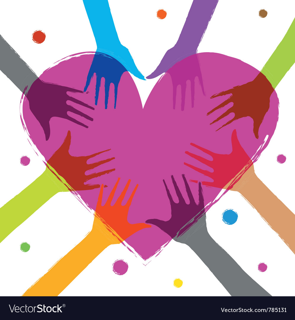 Heart with human hands vector