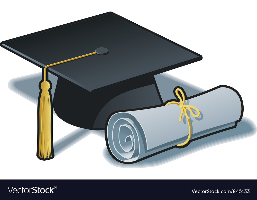 Graduation hat and diploma vector