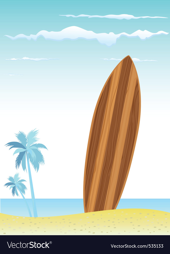 Wooden surfboard vector