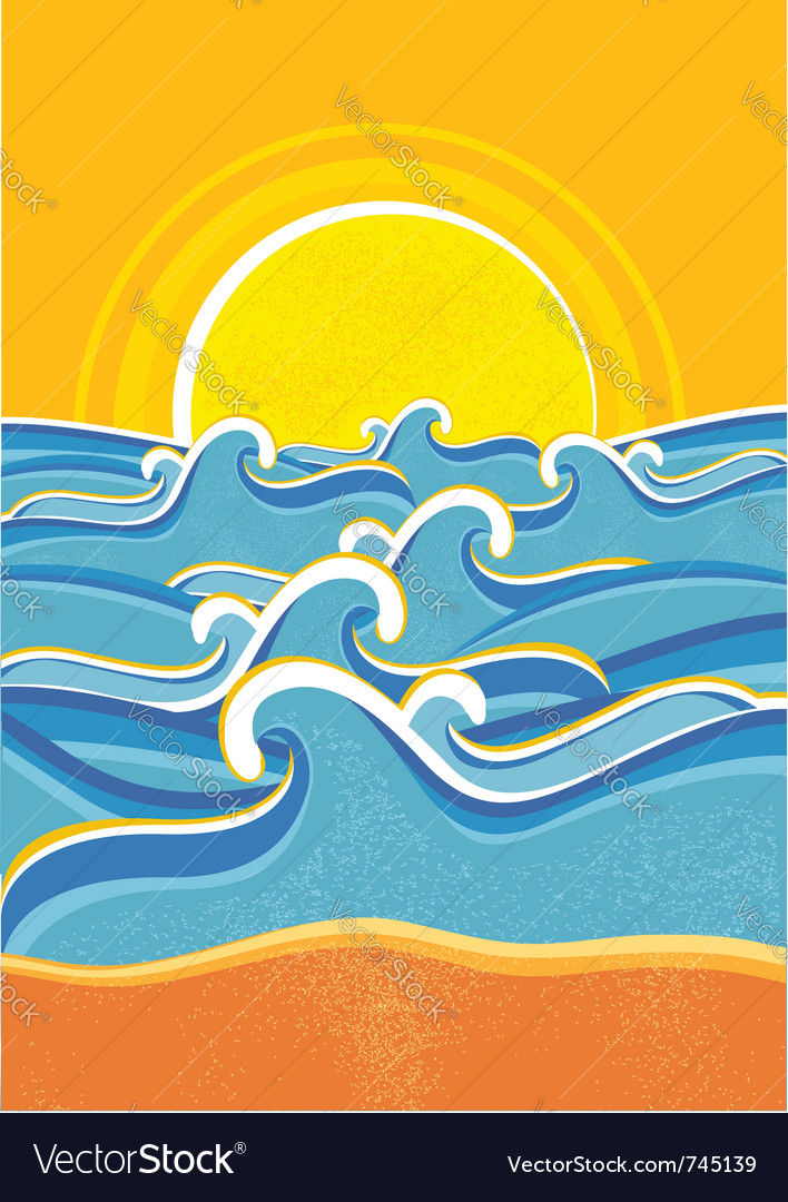 Seascape vintage poster vector