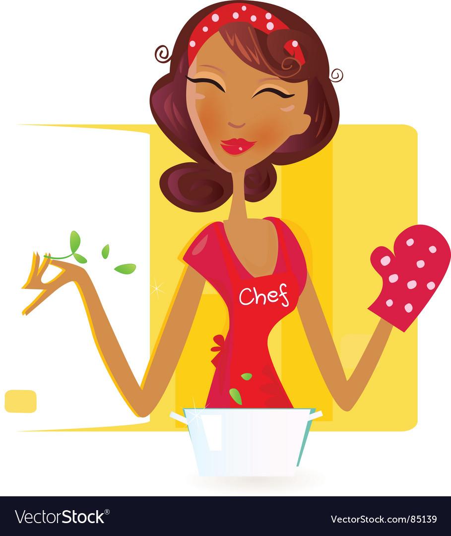 Sexy woman chef vector