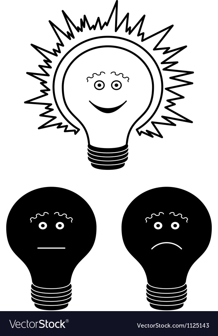 Set of electric bulbs bright on top outline vector