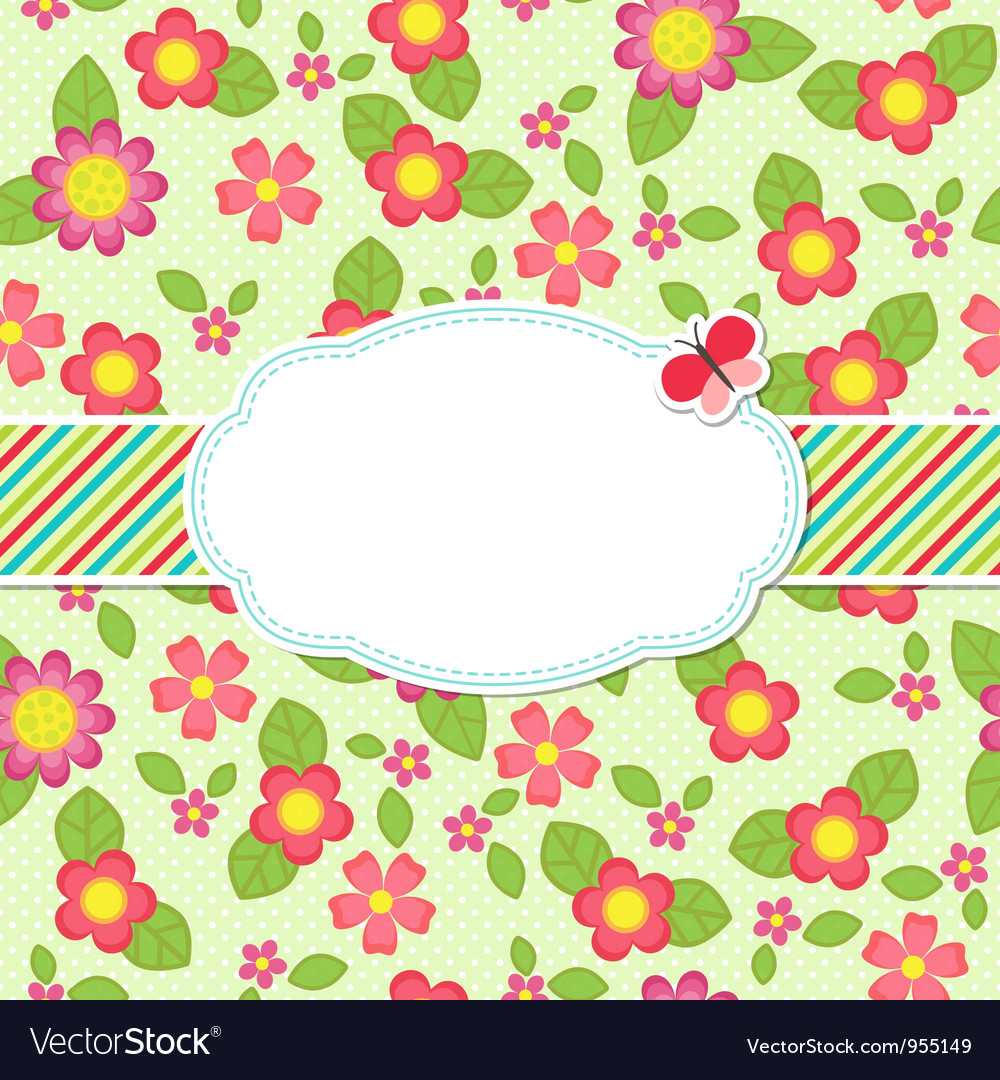 Floral background with a frame vector