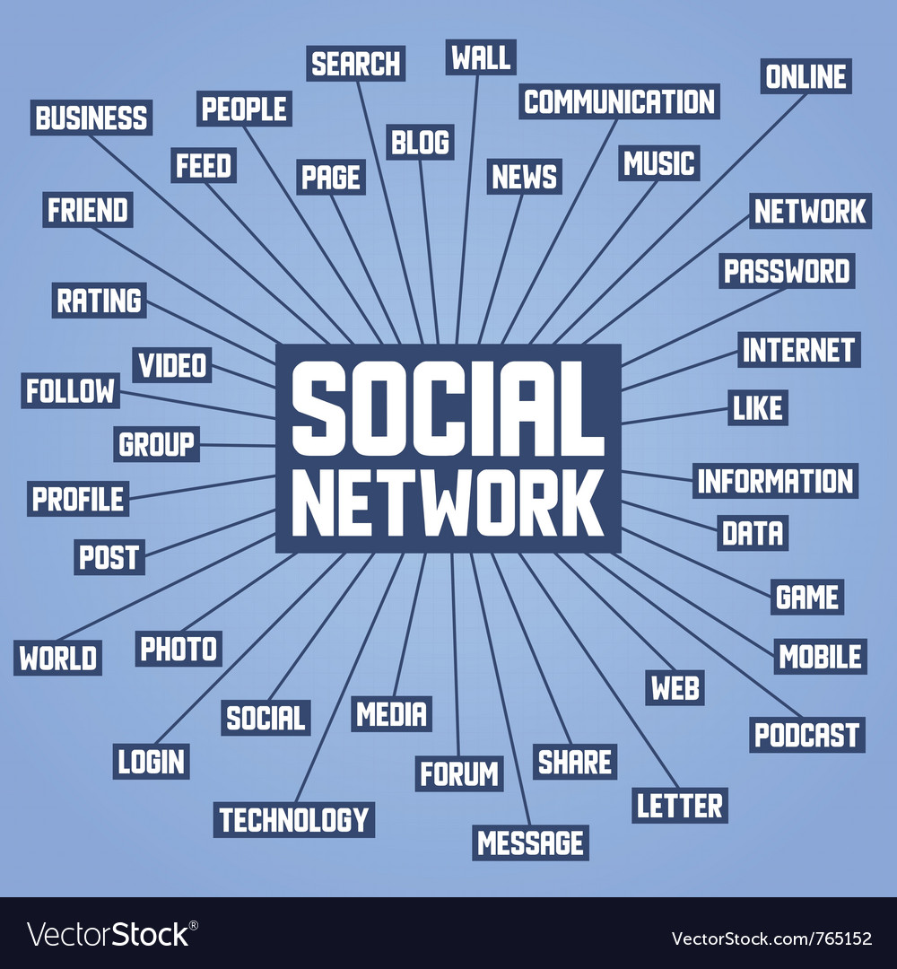 Background with social network keywords vector