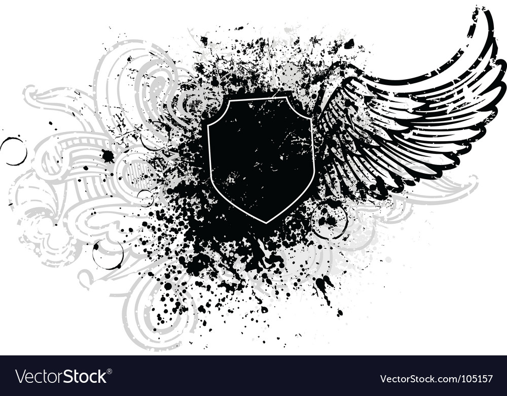 Shield and wings vector
