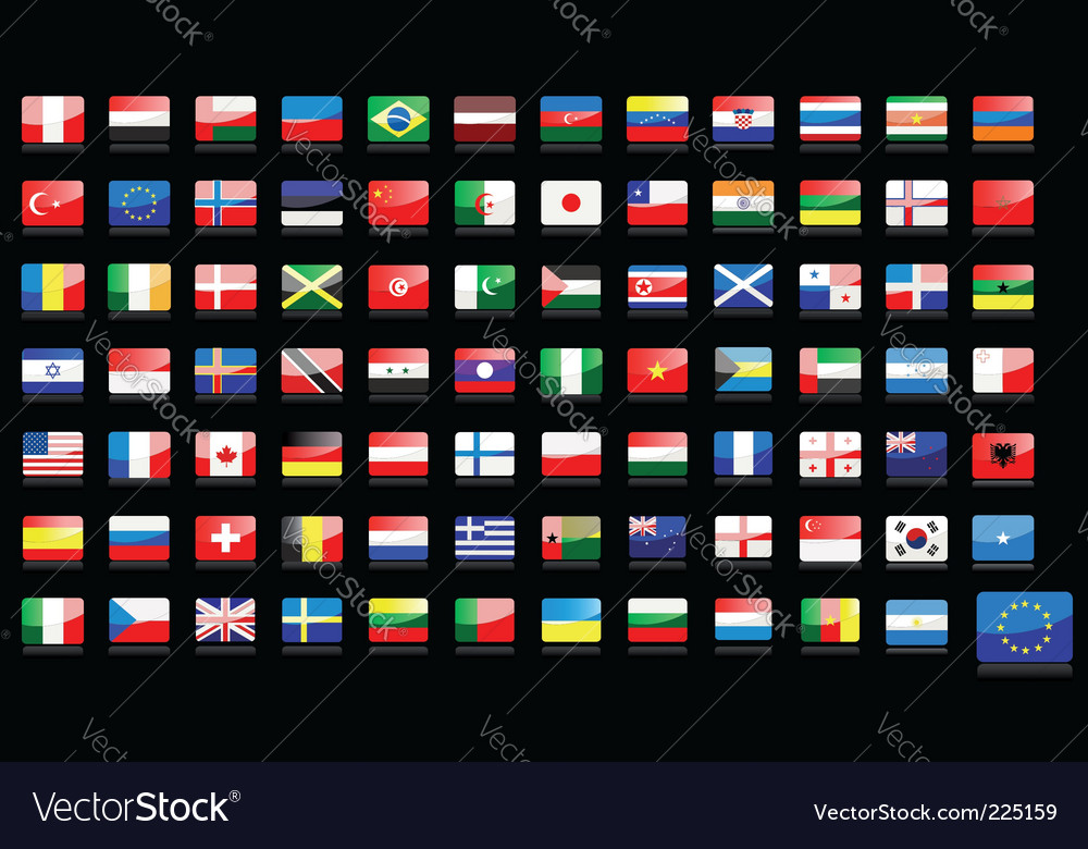 National flags icons vector