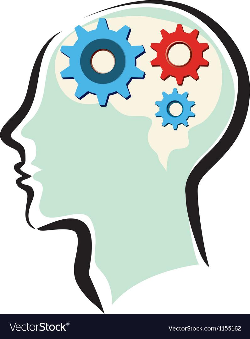 Human brain thinking process vector